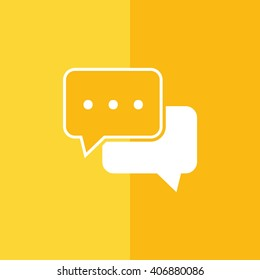 White chat vector icon. Yellow background