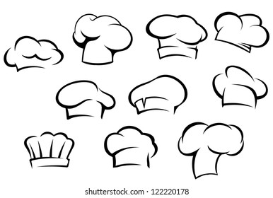 White chef hats and caps set in cartoon style, also a logo idea. Jpeg version also available in gallery