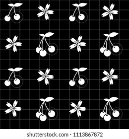 White cherry icon and cherry blossom flowers in lineal grid and black background. Vector illustration. Seamless line pattern. Nature sketch. Geometrical grid.