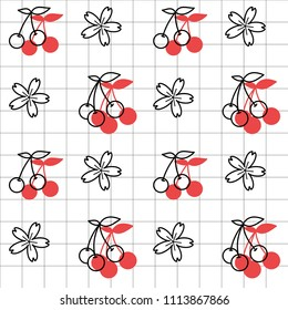 White cherry icon with red shadow and cherry blossom flowers in lineal grid and white background. Vector illustration. Seamless line pattern. Nature sketch. Geometrical grid.