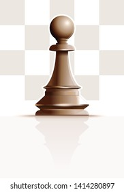 White chess figure pawn on a background of chessboard cells. White Ivory Pawn. Chess piece Pawn. Realistic vector illustration