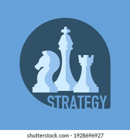 White chess pieces with the text Strategy on a dark background. Minimalistic chess strategy concept. Flat vector illustration.
