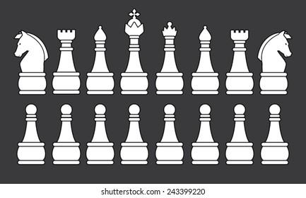 White Chess Set, symbol, icon, graphic, vector .