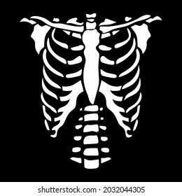 White chest bone. T-shirt print for Horror or Halloween. Hand drawing illustration isolated on black background. Vector EPS 10.