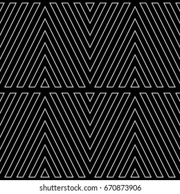 White chevron contour lines on black background. Zigzag image. Seamless surface pattern design with linear ornament. Curves wallpaper. Angle brackets motif. Digital paper with chevrons. Striped vector