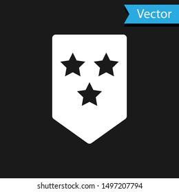 White Chevron icon isolated on black background. Military badge sign.  Vector Illustration
