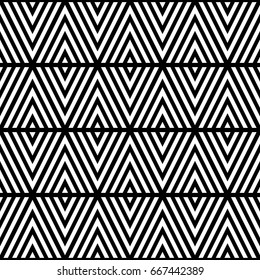 White chevron lines on black background. Seamless surface pattern design with linear ornament. Curves wallpaper.
