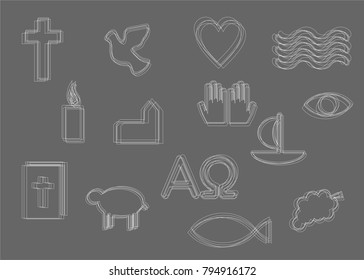 White christian outline symbols