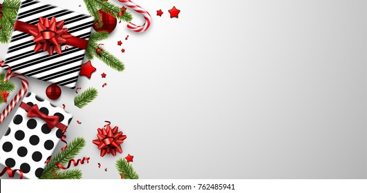 White Christmas background with fir branches, gifts and candy. Vector top view illustration.