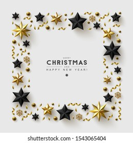 White Christmas Background with Frame made of Gold and Black Stars,  Beads and Confetti. Chic Christmas Greeting Card.
