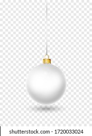 White Christmas ball with ribbon and bow. Realistic isolated vector. New year toy decoration. Holiday decoration element