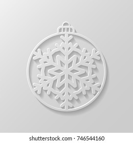 White Christmas ball with a snowflake cut out of paper. Decorative design element, holiday decoration for Christmas and New Year cards. Vector illustration