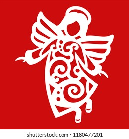 White Christmas flying Angel on the red background. Silhouette of Angel may use for card, laser. cutting, plotter cutting.