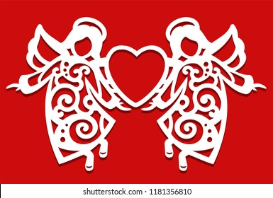 White Christmas flying two Angels on the red background. Angels keep the heart in their hands. Silhouette of Angel may use for card, laser. cutting, plotter cutting.