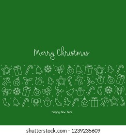 white christmas icons elements circle green background