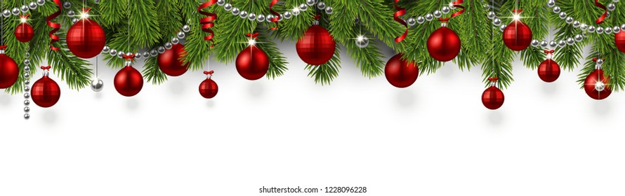 White Christmas and New Year banner with fir branches and red shiny Christmas balls. Festive design. Vector background.