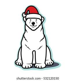 White Christmas polar bear with Santa hat