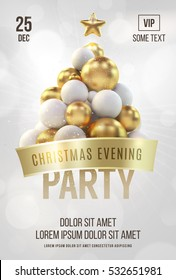 White christmas poster or flyer template with golden christmas tree. Vector illustration