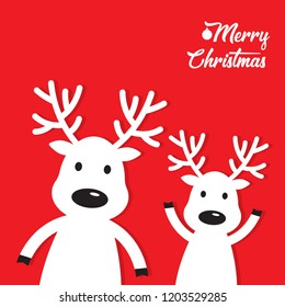 white Christmas Reindeer on a red background, vector illustration