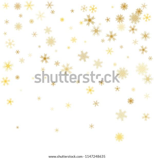 White Christmas Snowflakes Background Gold Snowflakes Stock