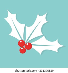 White Christmas symbol holly berry. Vector illustration