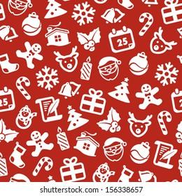 White Christmas symbols on red background. Christmas seamless background.