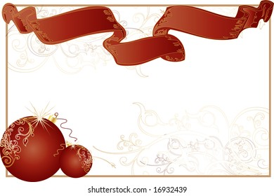 A white christmas themed background frame with intricate patterns, red ribbon and christmas tree toys.