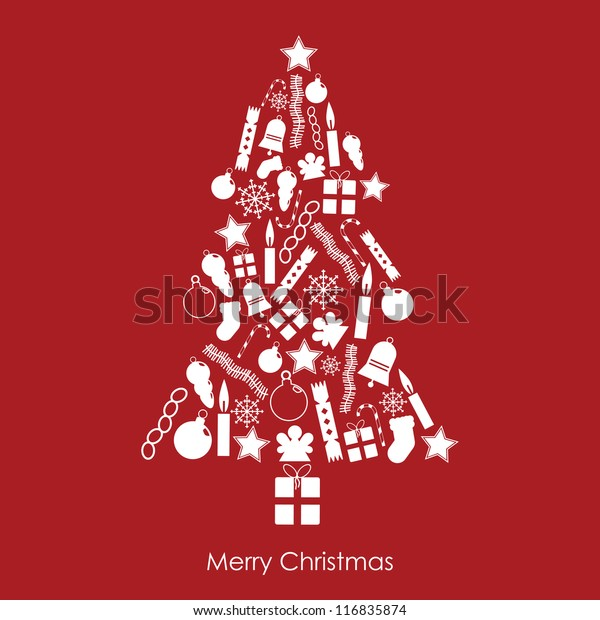 white christmas tree made of festive icons on red background