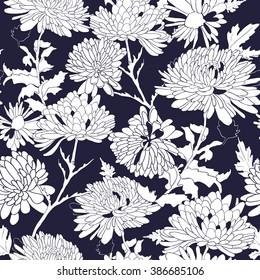 White chrysanthemum on black background. Floral seamless pattern. Vector illustration