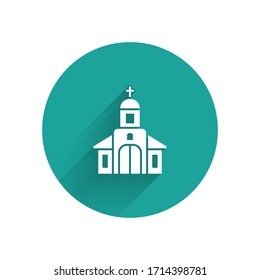 White Church building icon isolated with long shadow. Christian Church. Religion of church. Green circle button. Vector Illustration