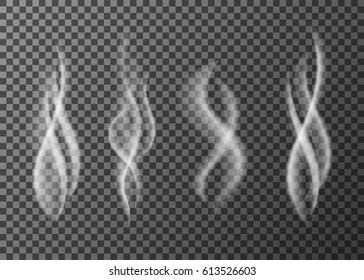 White cigarette smoke or vapour special effect  isolated on transparent background.  Steam  from a cup of  hot coffee or tea.  Realistic  vector smell texture.