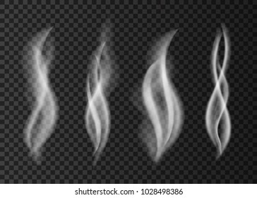 White cigarette steam isolated on transparent background. Smell.  Smoke  from a cup of coffee or