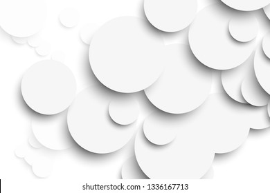 White circle with drop shadows on white background template. Vector illustration