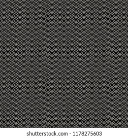 White circle lines on black background vector texture. Geometric seamless pattern on Japanese motif. Abstract waves
