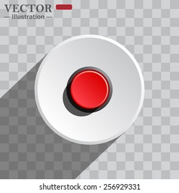 White circle on a gray background with shadow. icon,   Red button start, stop. Vector illustration, EPS 10