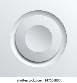 White circle plastic button background, vector illustration.