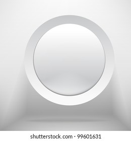 White circle plastic buttons background - vector illustration