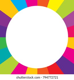 white circle-shaped space in colourful square frame consists of various bright colours aligned in radial directions.