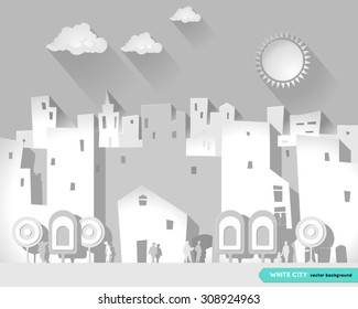 White city. Illustration of a paper city at summer day, with buildings, trees and walking people and  with a sun and clouds in the background. Flat style. Urban city Background. Poster. Postcard.
