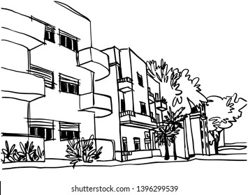 White city Tel Aviv, romantic urban landscape, bauhaus style. Ink line sketch. Hand drawing. Vector illustration on white background.