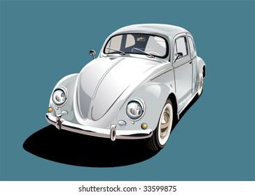 white classic car, illustration