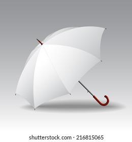 White classic elegant open umbrella. Vector blank template.