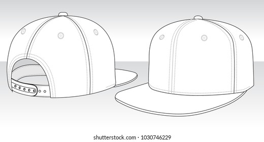 White Classic Hip Hop cap & snap back : Perspective view