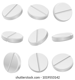 White classic pills from different angles. Round tablets set. Vector Illustration.