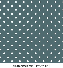 White classic polka dots on a blue background. Seamless vector pattern.Fabric print texture. Surface pattern design.