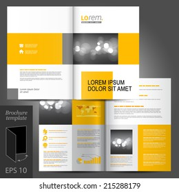 White classic vector brochure template design with yellow geometric elements