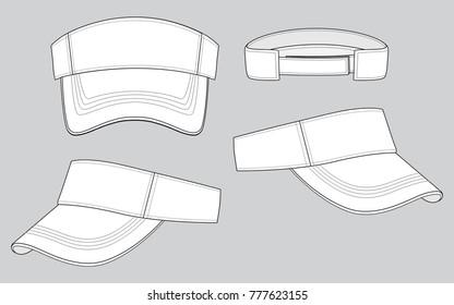 White classic visor cap/hat  for template