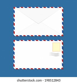 White Clean Air-mail Envelopes Vector