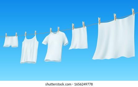Weiße, saubere Leinen und Kleidung, die an einem Seil hängen. Vektorillustration