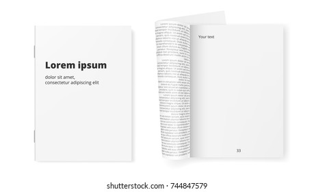 White Clean Paper Journal Ready For Your Text. EPS10 Vector